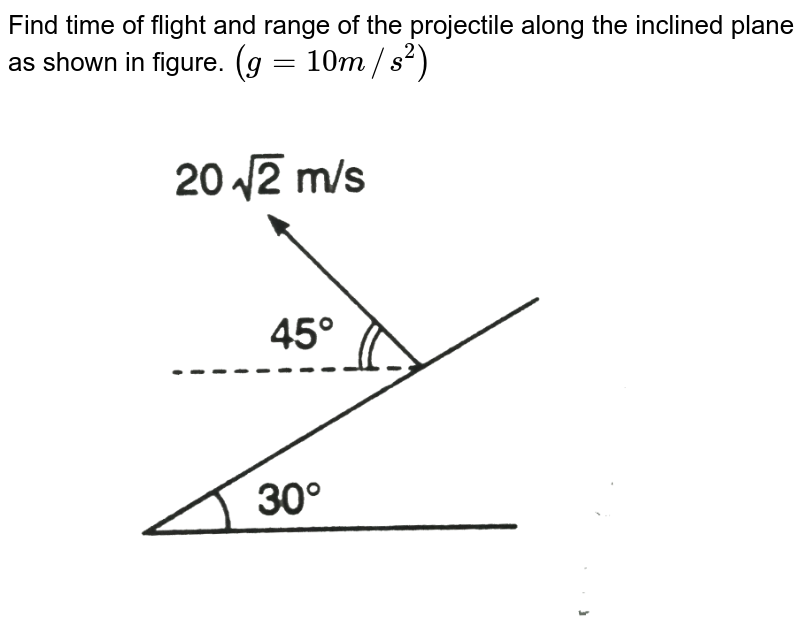 """Find time of flight and range of the projectile along the inclined plane as shown in figure. `(g = 10 m//s^2)` <br> <img src=""""https://d10lpgp6xz60nq.cloudfront.net/physics_images/DCP_V01_C07_E01_015_Q01.png"""" width=""""80%"""">"""