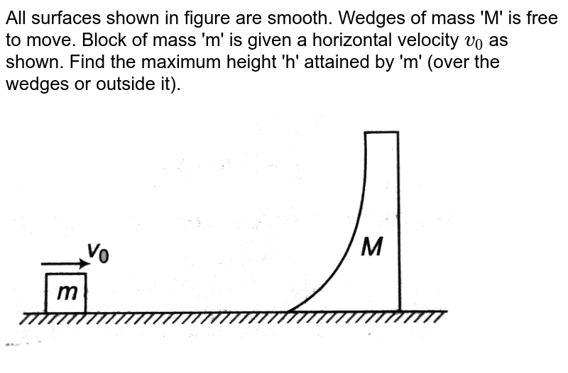 """All surfaces shown in figure are smooth. Wedges of mass 'M' is free to move. Block of mass 'm' is given a horizontal velocity `v_0` as shown. Find the maximum height 'h' attained by 'm' (over the wedges or outside it). <br> <img src=""""https://d10lpgp6xz60nq.cloudfront.net/physics_images/DCP_V02_CH11_S01_030_Q01.png"""" width=""""80%"""">"""