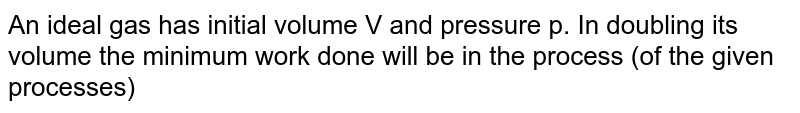 An ideal gas has initial volume V and pressure p. In doubling its volume the minimum work done will be in the process (of the given processes)