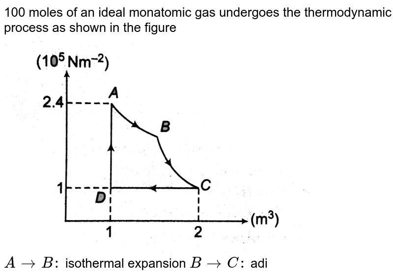 """100 moles of an ideal monatomic gas undergoes the thermodynamic process as shown in the figure <br> <img src=""""https://d10lpgp6xz60nq.cloudfront.net/physics_images/DCP_V03_CH21_E01_097_Q01.png"""" width=""""80%""""> <br> `ArarrB:` isothermal expansion `BrarrC:` adiabatic expansion <br> `CrarrD:` isobaric compression  `DrarrA:` isochoric process The heat transfer along the process AB is `9xx10^4J`. The net work done by the gas during the cycle is [Take `R=8JK^-1mol^-1`]"""