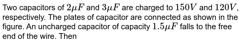 """Two capacitors of `2muF` and `3muF` are charged to `150 V` and `120 V`, respectively. The plates of capacitor are connected as shown in the figure. An uncharged capacitor of capacity `1.5muF` falls to the free end of the wire. Then <br> <img src=""""https://d10lpgp6xz60nq.cloudfront.net/physics_images/DCP_VOL_4_C25_E01_122_Q01.png"""" width=""""80%"""">"""