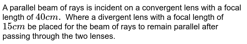 A parallel beam of rays is incident on a convergent lens with a focal length of `40 cm.` Where a divergent lens with a focal length of `15 cm` be placed for the beam of rays to remain parallel after passing through the two lenses.