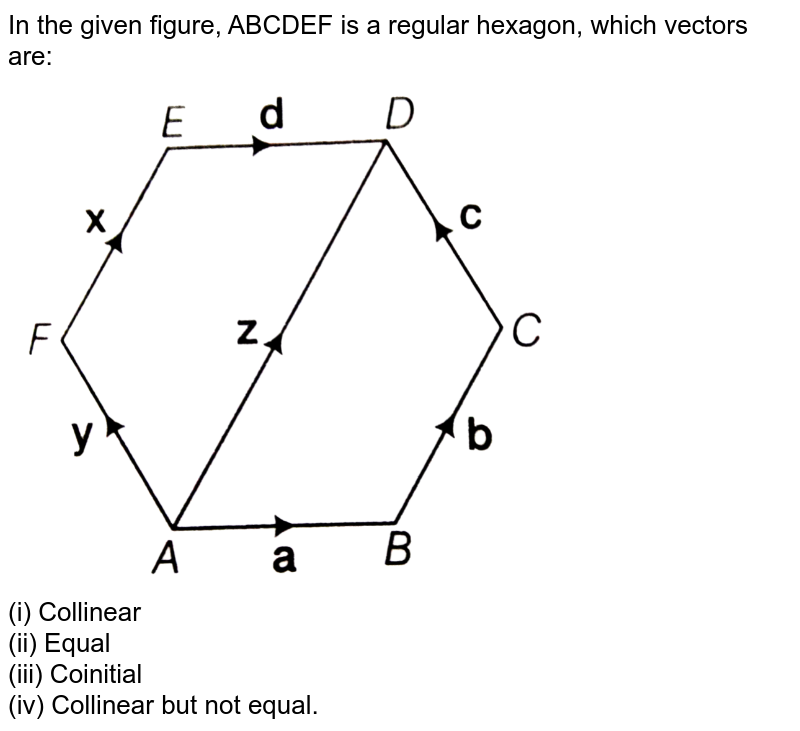 """In the given figure, ABCDEF is a regular hexagon, which vectors are: <br> <img src=""""https://d10lpgp6xz60nq.cloudfront.net/physics_images/ARH_AAG_V_3DG_C01_E01_003_Q01.png"""" width=""""80%""""> <br> (i) Collinear <br> (ii) Equal <br> (iii) Coinitial <br> (iv) Collinear but not equal."""