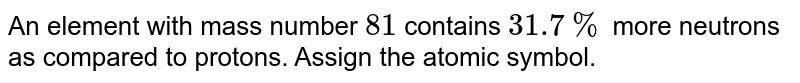 An element with mass number `81` contains `31.7%` more neutrons as compared to protons. Assign the atomic symbol.