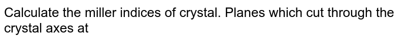 Calculate the miller indices of crystal. Planes which cut through the crystal axes at