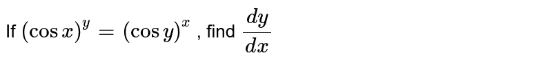 If `(cosx)^y=(cosy)^x` , find `(dy)/(dx)`