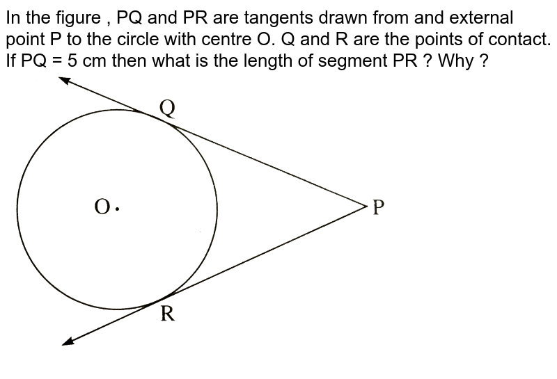 """In the figure , PQ and PR are tangents drawn from and external point P to the circle with centre O. Q and R are the points of contact. If PQ = 5 cm then what is the length of segment PR ? Why ?  <br> <img src=""""https://d10lpgp6xz60nq.cloudfront.net/physics_images/NVT_21_MAT_P2_X_C04_E01_013_Q01.png"""" width=""""80%"""">"""