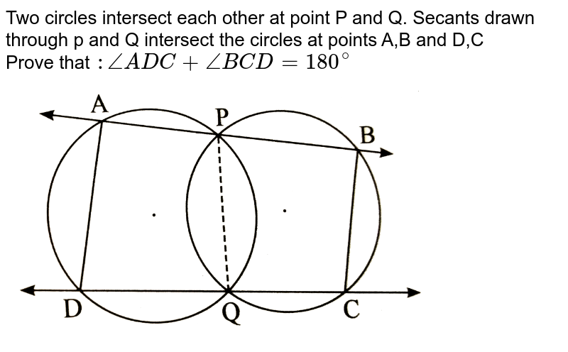 """Two circles intersect each other at point P and Q. Secants drawn through p and Q intersect the circles at points A,B and D,C   <br> Prove that `: /_ ADC  + /_ BCD = 180^(@)`  <br> <img src=""""https://d10lpgp6xz60nq.cloudfront.net/physics_images/NVT_21_MAT_P2_X_C04_E01_047_Q01.png"""" width=""""80%"""">"""