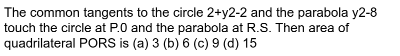 The common tangents to the circle `x^2 + y^2 =2` and the parabola `y^2 = 8x` touch the circle at `P,Q` andthe parabola at  `R,S`. Then area of quadrilateral `PQRS` is