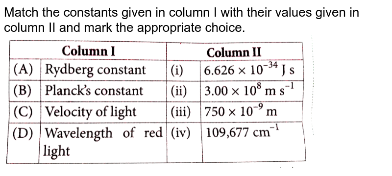 """Match the constants given in column I with their values given in column II and mark the appropriate choice. <br> <img src=""""https://d10lpgp6xz60nq.cloudfront.net/physics_images/NCERT_OBJ_FING_CHE_XI_C02_E01_026_Q01.png"""" width=""""80%"""">"""