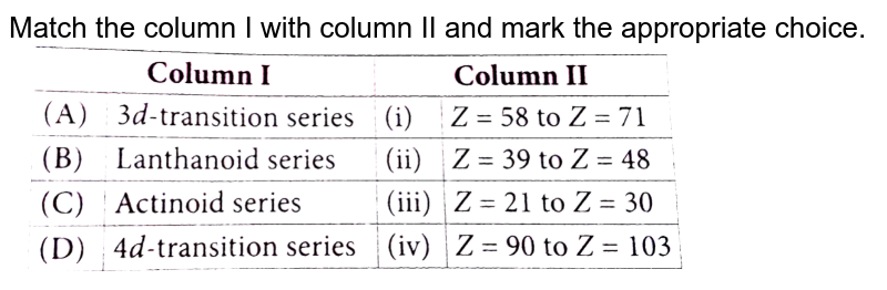 """Match the column I with column II and mark the appropriate choice.  <br> <img src=""""https://d10lpgp6xz60nq.cloudfront.net/physics_images/NCERT_OBJ_FING_CHE_XI_C03_E01_017_Q01.png"""" width=""""80%"""">"""