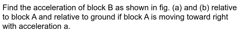 """Find the acceleration of block B as shown in fig. (a) and (b) relative to block A and relative to ground if block A is moving toward right with acceleration a. <br> <img src=""""https://d10lpgp6xz60nq.cloudfront.net/physics_images/BMS_V01_C06_E01_060_Q01.png"""" width=""""80%"""">"""