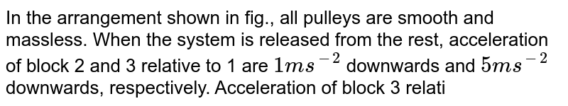 """In the arrangement shown in fig., all pulleys are smooth and massless. When the system is released from the  rest, acceleration of block 2 and 3 relative to 1 are `1 ms^(-2)` downwards and `5ms^(-2)` downwards, respectively. Acceleration of block 3 relative to 4 is zero.  <br> <img src=""""https://d10lpgp6xz60nq.cloudfront.net/physics_images/BMS_V01_C06_E01_223_Q01.png"""" width=""""80%""""> <br> Find the absoulte acceleration of block 3."""
