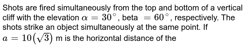 """Shots are fired simultaneously from the top and bottom of a vertical cliff with the elevation `alpha = 30^@`, beta `= 60^@`, respectively. The shots strike an object simultaneously at the same point. If `a = 10 (sqrt3)` m is the horizontal distance of the object from the cliff, then the height h of the cliff is  <br> <img src=""""https://d10lpgp6xz60nq.cloudfront.net/physics_images/BMS_V01_MAA_E01_035_Q01.png"""" width=""""80%"""">"""
