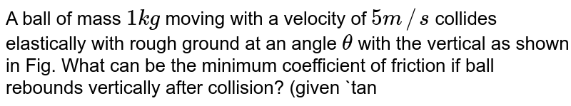"""A ball of mass `1 kg` moving with a velocity of `5 m//s` collides elastically with rough ground at an angle `theta` with the vertical as shown in Fig. What can be the minimum coefficient of friction if ball rebounds vertically after collision? (given `tantheta=2`)  <br> <img src=""""https://d10lpgp6xz60nq.cloudfront.net/physics_images/BMS_VOL2_C01_E01_366_Q01.png"""" width=""""80%"""">"""