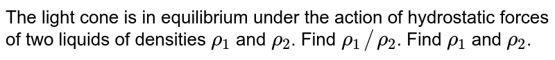 """The light cone is in equilibrium under the action of hydrostatic forces of two liquids of densities `rho_(1)` and `rho_(2)`. Find `rho_(1)//rho_(2)`. Find `rho_(1)` and `rho_(2)`. <br> <img src=""""https://d10lpgp6xz60nq.cloudfront.net/physics_images/BMS_VOL2_C04_E01_062_Q01.png"""" width=""""80%"""">"""