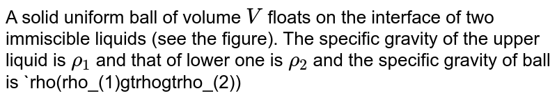 """A solid uniform ball of volume `V` floats on the interface of two immiscible liquids (see the figure). The specific gravity of the upper liquid is `rho_(1)` and that of lower one is `rho_(2)` and the specific gravity of ball is `rho(rho_(1)gtrhogtrho_(2))` The fraction of the volume the ball in the `u` of upper liquid is <br> <img src=""""https://d10lpgp6xz60nq.cloudfront.net/physics_images/BMS_VOL2_C04_E01_068_Q01.png"""" width=""""80%"""">"""