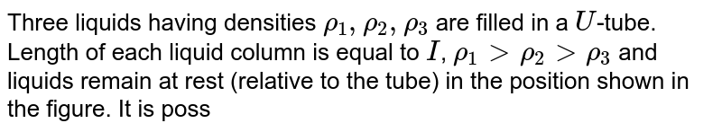 """Three liquids having densities `rho_(1),rho_(2), rho_(3)` are filled in a `U`-tube. Length of each liquid column is equal to `I`, `rho_(1)gtrho_(2)gtrho_(3)` and liquids remain at rest (relative to the tube) in the position shown in the figure. It is possible that <br> <img src=""""https://d10lpgp6xz60nq.cloudfront.net/physics_images/BMS_VOL2_C04_E01_080_Q01.png"""" width=""""80%"""">"""