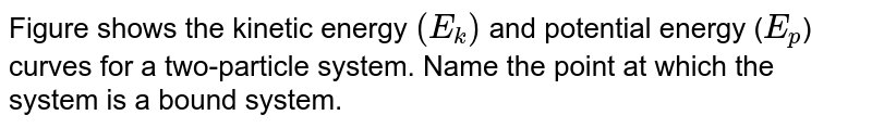"""Figure shows the kinetic energy `(E_(k))` and potential energy (`E_(p)`) curves for a two-particle system. Name the point at which the system is a bound system. <br> <img src=""""https://d10lpgp6xz60nq.cloudfront.net/physics_images/BMS_VOL2_C06_E01_186_Q01.png"""" width=""""80%"""">"""