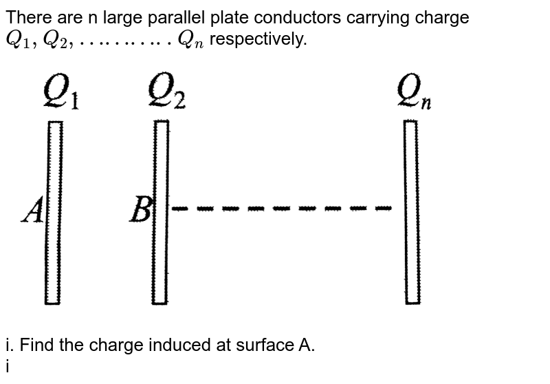 """There are n large parallel plate conductors carrying charge `Q_1,Q_2,………..Q_n` respectively. <br> <img src=""""https://d10lpgp6xz60nq.cloudfront.net/physics_images/BMS_V03_C02_S01_023_Q01.png"""" width=""""80%""""> <br> i. Find the charge induced at surface A. <br> ii. Find the charge induced at surface B. <br> iii. If the left conductor is earthed, find the magnitude of charge flowing from plate to earth. <br> iv. If any conductor is earthed, find the magnitude of charge flowing from plate to earth."""