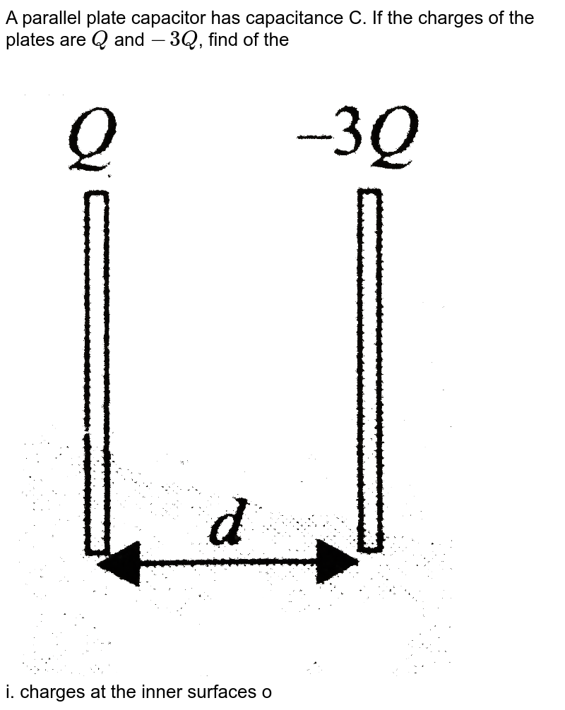 """A parallel plate capacitor has capacitance C. If the charges of the plates are `Q` and `-3Q`, find of the <br> <img src=""""https://d10lpgp6xz60nq.cloudfront.net/physics_images/BMS_V03_C04_S01_004_Q01.png"""" width=""""80%""""> <br> i. charges at the inner surfaces of the plates <br> ii. Potential difference between the plates <br> iii. charge flown if the plates are connected <br> iv. energy lost by the capacitor in (iii.) <br> v. charge flown if any plate is earthed."""