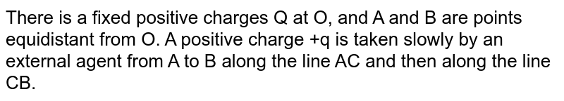"""There is a fixed positive charges Q at O, and A and B are points equidistant from O. A positive charge +q is taken slowly by an external agent from A to B along the line AC and then along the line CB. <br> <img src=""""https://d10lpgp6xz60nq.cloudfront.net/physics_images/BMS_V03_CA1_E01_161_Q01.png"""" width=""""80%"""">"""