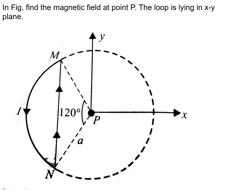 """In Fig, find the magnetic field at point P. The loop is lying in x-y plane. <br> <img src=""""https://d10lpgp6xz60nq.cloudfront.net/physics_images/BMS_V05_C02_E01_030_Q01.png"""" width=""""80%"""">"""