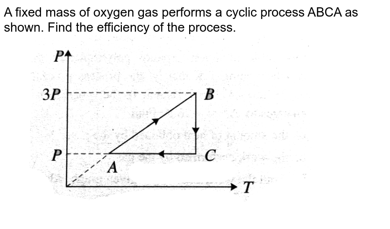 """A fixed mass of oxygen gas performs a cyclic process ABCA as shown. Find the efficiency of the process.  <br> <img src=""""https://d10lpgp6xz60nq.cloudfront.net/physics_images/BMS_V06_C02_S01_054_Q01.png"""" width=""""80%"""">"""