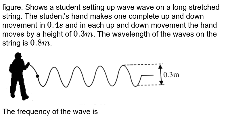 """figure. Shows a student setting up wave wave on a long stretched string. The student's hand makes one complete up and down movement in `0.4 s` and in each up and down movement the hand moves by a height of `0.3 m`. The wavelength of the  waves on the string is `0.8 m`. <br> <img src=""""https://d10lpgp6xz60nq.cloudfront.net/physics_images/BMS_V06_C05_E01_164_Q01.png"""" width=""""80%""""> <br> The frequency of the wave is"""