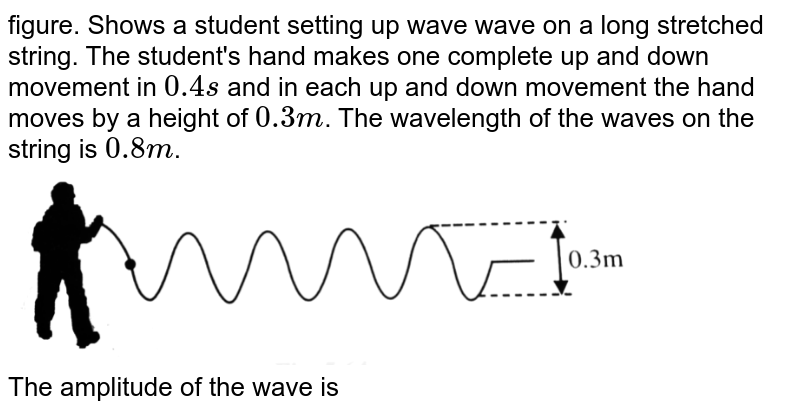 """figure. Shows a student setting up wave wave on a long stretched string. The student's hand makes one complete up and down movement in `0.4 s` and in each up and down movement the hand moves by a height of `0.3 m`. The wavelength of the  waves on the string is `0.8 m`. <br> <img src=""""https://d10lpgp6xz60nq.cloudfront.net/physics_images/BMS_V06_C05_E01_165_Q01.png"""" width=""""80%""""> <br> The amplitude of the wave is"""
