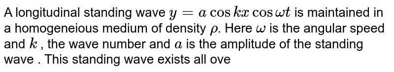 A longitudinal standing wave ` y = a cos kx cos omega t` is maintained in a homogeneious medium of density `rho`. Here `omega` is the angular speed and `k` , the wave number and `a` is the amplitude of the standing wave . This standing wave exists all over a given region of space. <br> If a graph `E ( = E_(p) + E_(k))` versus `t` , i.e., total space energy density verus time were drawn at the instants of time `t = 0` and `t = T//4`, between two successive nodes separated by distance `lambda//2` which of the following graphs correctly shows the total energy `(E)` distribution at the two instants.