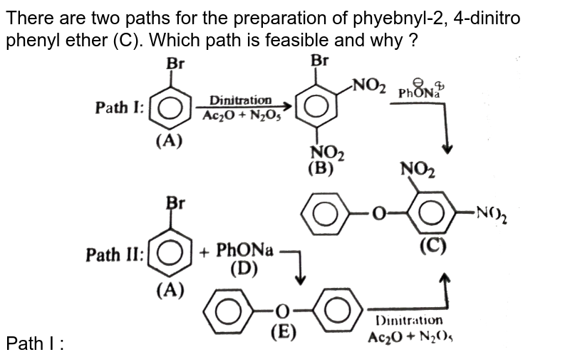 """There are two paths for the preparation of phyebnyl-2, 4-dinitro phenyl ether (C). Which path is feasible and why ? <br> Path I : <img src=""""https://d10lpgp6xz60nq.cloudfront.net/physics_images/KSV_CHM_ORG_P2_C12_S01_023_Q01.png"""" width=""""80%"""">"""