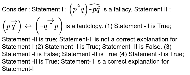 """Consider : Statement  I : `(phat~""""""""q)hat(~""""""""phatq)` is a fallacy. Statement  II : `(pvecq)harr(~""""""""qvec~""""""""p)` is a tautology. (1)   Statement - I is True; Statement -II is true; Statement-II is not a correct explanation for Statement-I (2)   Statement -I is True; Statement -II is False. (3)   Statement -I is False; Statement -II is True (4)   Statement -I is True; Statement -II is True; Statement-II is a correct explanation for Statement-I"""
