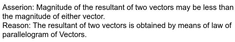 Asserion: Magnitude of the resultant of two vectors may be less than the magnitude of either vector. <br> Reason: The resultant of two vectors is obtained by means of law of parallelogram of Vectors.