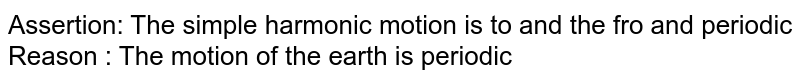 Assertion: The simple harmonic motion is to and the fro and periodic <br> Reason : The motion of the earth is periodic