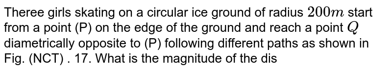 """Theree girls skating on a circular ice ground of radius ` 200 m` start from a point (P) on the edge of the ground and reach a point ` Q` diametrically opposite to (P) following different paths as shown in  Fig. (NCT) . 17. What is the magnitude of the displacemnt vector for each ? which girl is thsi equal to the actual length of path skated ? <br> <img src=""""https://d10lpgp6xz60nq.cloudfront.net/physics_images/PR_XI_V01_C02_S01_573_Q01.png"""" width=""""80%"""">."""