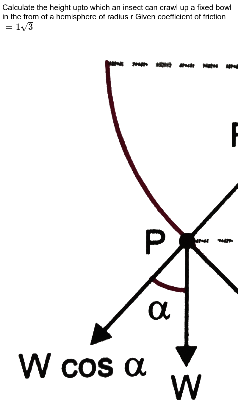 """Calculate the height upto which an insect can crawl up a fixed bowl in the from of a hemisphere of radius r Given coefficient of friction `= 1 sqrt(3)` <br> <img src=""""https://d10lpgp6xz60nq.cloudfront.net/physics_images/PR_XI_V01_C03_S01_315_Q01.png"""" width=""""80%""""> ."""
