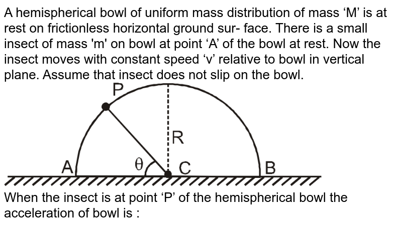 """A hemispherical bowl of uniform mass distribution of mass 'M' is at rest on frictionless horizontal ground sur- face. There is a small insect of mass 'm' on bowl at point 'A' of the bowl at rest. Now the insect moves with constant speed 'v' relative to bowl in vertical plane. Assume  that insect does not slip on the bowl. <br> <img src=""""https://d10lpgp6xz60nq.cloudfront.net/physics_images/RES_DPP_PHY_04_E01_035_Q01.png"""" width=""""80%""""> <br>  When the insect is at point 'P' of the hemispherical bowl the acceleration of bowl is :"""