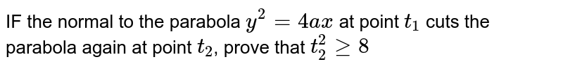 IF the normal to the parabola `y^2=4ax` at point `t_1` cuts the parabola again at point `t_2`, prove that `t_2^2ge8`