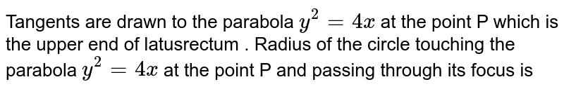 Tangents are drawn to the parabola `y^2=4ax` at the point P which is the upper end of latusrectum . <br>  Radius of the circle touching the parabola `y^2=4ax` at the point P and passing through its focus is