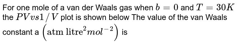 """For one mole of a van der Waals gas when `b =0` and `T =30 K` the `PV vs1//V` plot is shown below The value of the van Waals constant a `(""""atm litre""""^(2) mol^(-2))` is <br> <img src=""""https://d10lpgp6xz60nq.cloudfront.net/physics_images/DPB_PHY_CHM_IX_C02_E01_238_Q01.png"""" width=""""80%""""> ."""