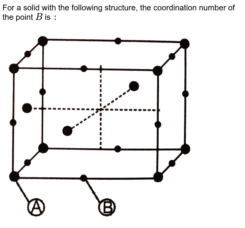 """For a solid with the following structure, the coordination number of the point `B` is `:` <br> <img src=""""https://d10lpgp6xz60nq.cloudfront.net/physics_images/DPB_PHY_CHM_IX_C14_E01_035_Q01.png"""" width=""""80%"""">"""