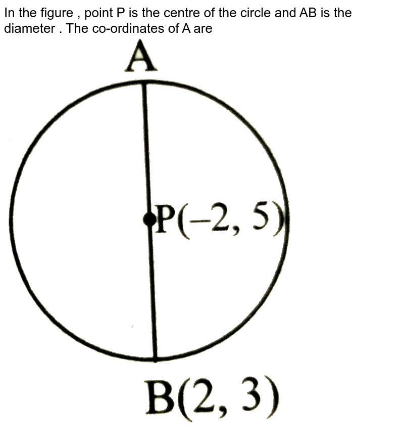 """In the figure , point P is the centre of the circle and AB is the diameter . The co-ordinates of A are <br> <img src=""""https://d10lpgp6xz60nq.cloudfront.net/physics_images/TRG_MAT_X_P2_C05_E06_021_Q01.png"""" width=""""80%"""">"""