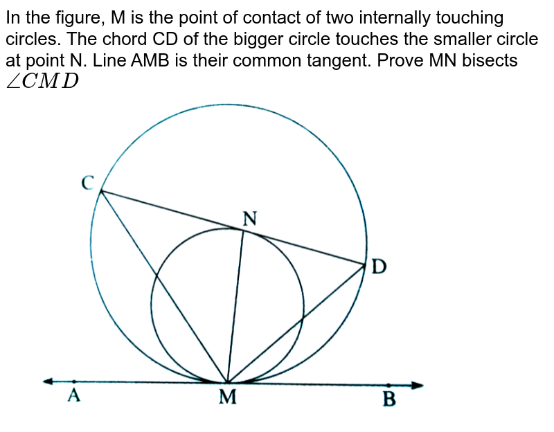 """In  the figure, M is the point of contact of two internally touching circles. The chord CD of the bigger circle touches the smaller circle at point N. Line AMB is  their common tangent. Prove MN bisects `/_CMD` <br> <img src=""""https://d10lpgp6xz60nq.cloudfront.net/physics_images/NVT_MAT_DIG_X_P2_C03_SLV_038_Q01.png"""" width=""""80%"""">"""