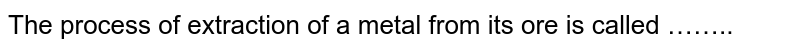 The process of extraction of a metal from its ore is called ……..