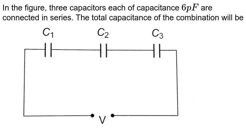"""In the figure, three capacitors each of capacitance `6 pF` are connected in series. The total capacitance of the combination will be <br> <img src=""""https://d10lpgp6xz60nq.cloudfront.net/physics_images/BMS_OBJ_XII_C02_E01_283_Q01.png"""" width=""""80%"""">"""