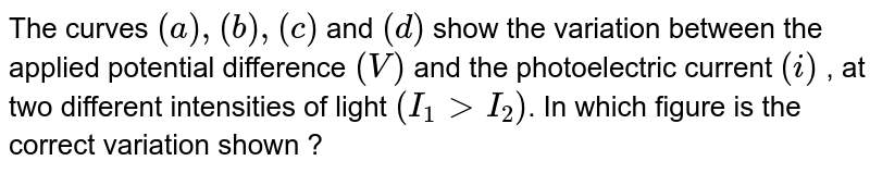 The curves `(a) , (b) , ( c )` and `(d)` show the variation between the applied potential difference `(V)` and the photoelectric current `(i)` , at two different intensities of light `(I_(1) gt I_(2))`. In which figure is the correct variation shown ?