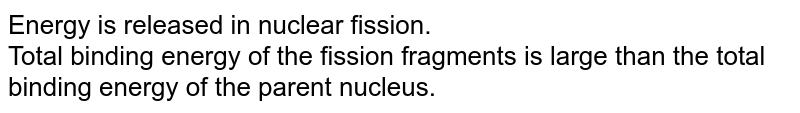 Energy is released in nuclear fission. <br> Total binding energy of the fission fragments is large than the total binding energy of the parent nucleus.