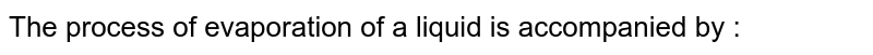 The process of evaporation of a liquid is accompanied by :