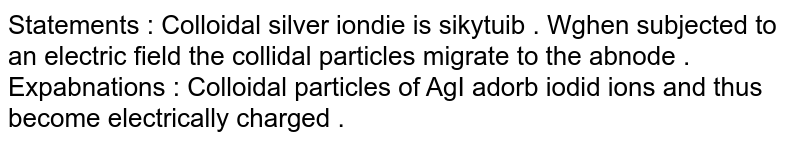 Statements : Colloidal silver iondie is sikytuib . Wghen subjected to an electric field the collidal particles migrate to the abnode . <br> Expabnations : Colloidal particles of AgI adorb iodid ions and thus become electrically charged .